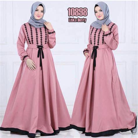 Kain Bahan Pelpet By Auratexstile by Model Baju Gamis Syari Katun 2018 Terbaru Liska Pink Fg