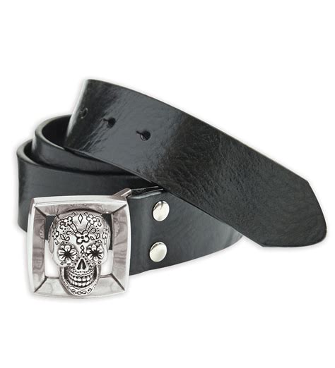 bill lavin skull leather belt