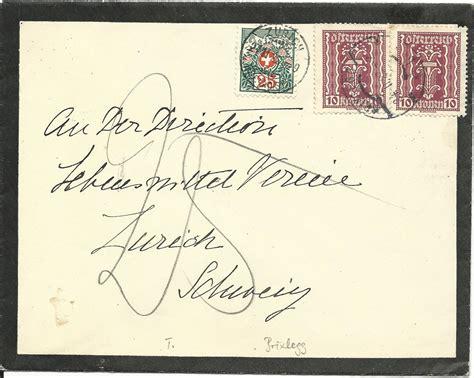 Porto Brief Schweiz Nach Sterreich 214 sterreich 1922 2x10 kr auf trauer brief v brixlegg m
