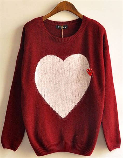 Heart Pattern Sweater | heart pattern loose sweater style pinterest