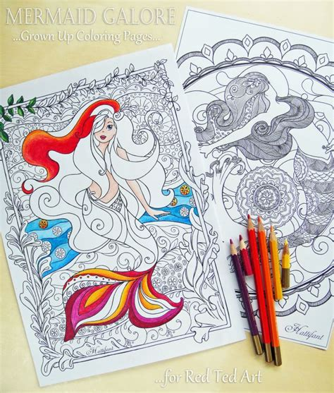 mermaid colouring pages  grown ups red ted art