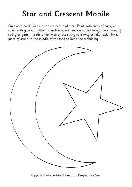 printable moon and star shapes star and crescent moon mobile