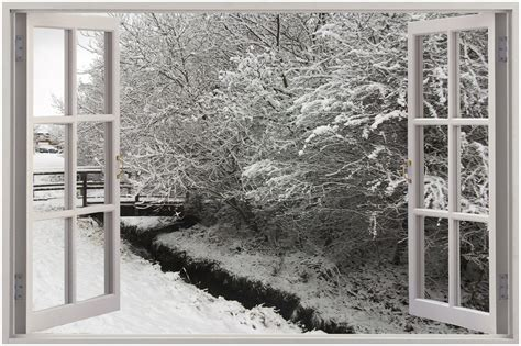 huge 3d window view snow covered trees wall sticker mural