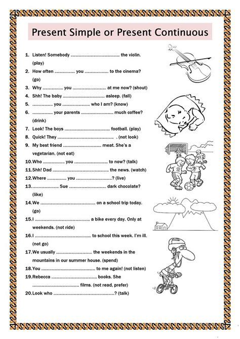 pattern for present continuous tense present simple or present continuous worksheet free esl
