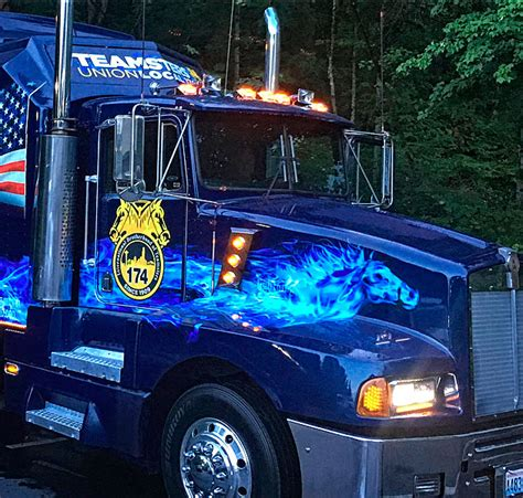 The Teamster the teamster truck lit up and ready to roll