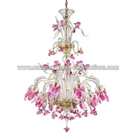 Pink Murano Glass Chandelier quot delizia quot 8 lights pink flowers murano glass