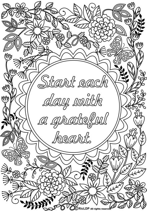 free printable for adults start each day with a grateful coloringpages