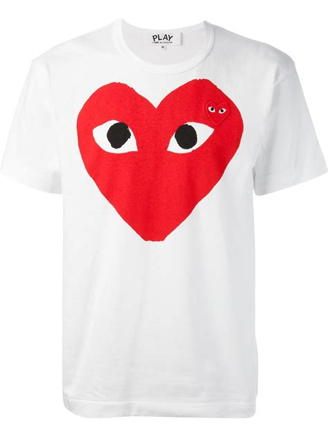 Cdg Play T Shirt play comme des gar 231 ons comme des gar 231 ons play play t shirt in white for lyst