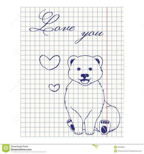 imagenes de amor para dibujar en cuaderno ejemplo de la hoja del cuaderno con el oso y los corazones