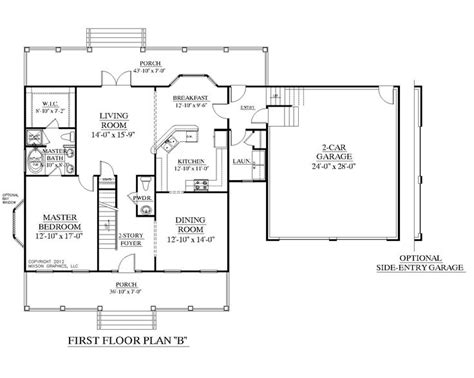 garage floor plans with bonus room house plan 2109 b mayfield quot b quot first floor plan colonial