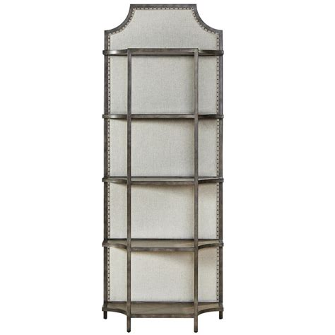etagere metal sojourn industrial upholstered back metal etagere