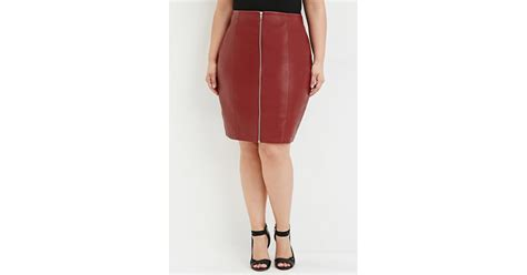 forever 21 plus size zipped faux leather skirt in purple