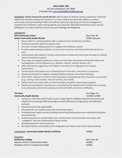 Resume Exles For Healthcare Workers Sle Resume Community Health Worker Winning Answers To 500 Questions More By