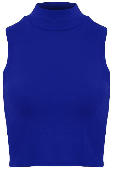 Crop Plain White Blue womens high polo turtle neck sleeveless stretch plain vest crop top 8 10 12 14