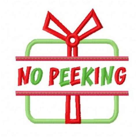 No Peeking Clipart split present applique