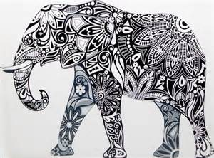 white elephant tattoo black and white elephant tribal picture canvas ready