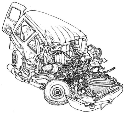 coloring page of car crash crashed cars free coloring pages
