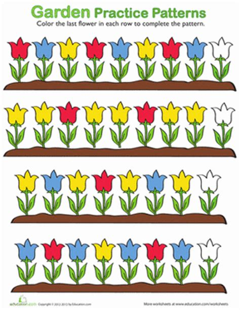 pattern art for preschoolers flower pattern worksheets kindergarten and patterns