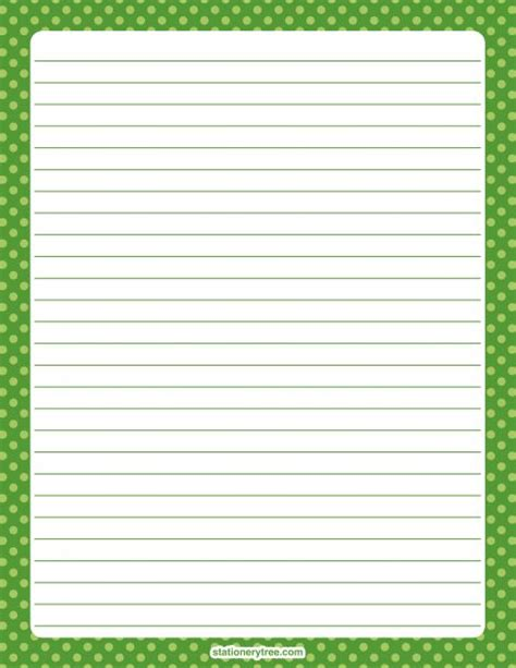 free printable stationery paper without lines printable green polka dot stationery and writing paper