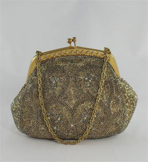 beaded evening purse vintage 1940s walborg beaded evening bag