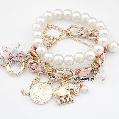 flirty white elephant pearl korean fashion bracelet
