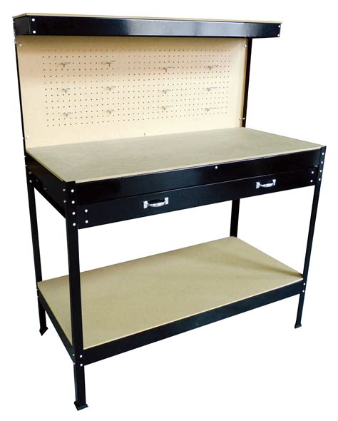 work bench tool box new black steel tools box workbench garage workshop table with pegboard drawers ebay