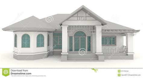 3d retro house architecture exterior design in whi stock