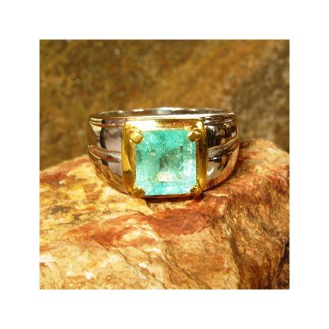 Emerald Zamrud Colombia Kolombia Ring Silver Memo Biglab jual cincin pria silver ring 9us zamrud 1 80 carat