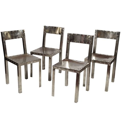 Handmade Steel Furniture - four unique handmade steel metal chairs at 1stdibs