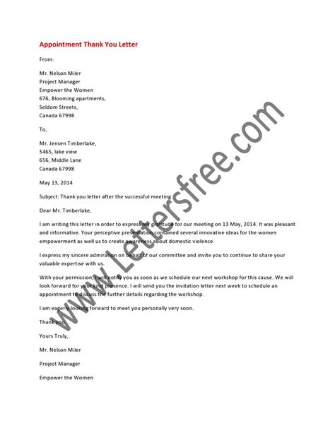 Thank You Letter For The Appointment 8 Best Images About Appointment Letters On It Is And A Business