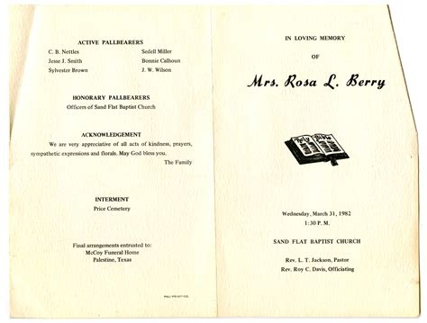 funeral program for rosa berry march 31 1982