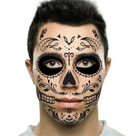 temporary face tattoos halloween black sugar skull day of the dead temporary