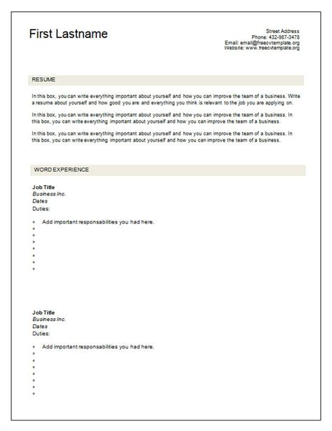 Blank Cv Template Word 7 Free Blank Cv Resume Templates For Free Cv Template Dot Org