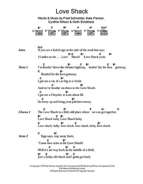 printable lyrics to love shack love shack sheet music by the b 52 s lyrics chords