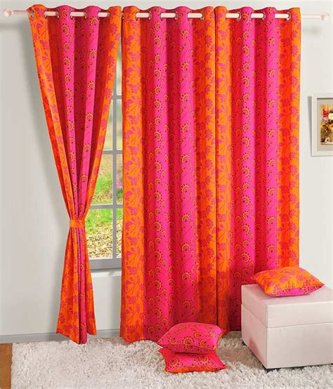 pink and yellow curtains swayam pink and yellow floral silk door curtain buy