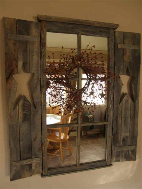 primitive window with mirror rustic primitive country