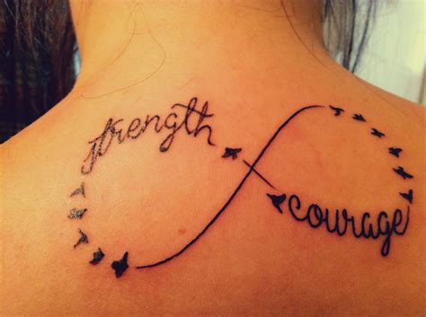 tattoo designs about strength strength and courage infinity