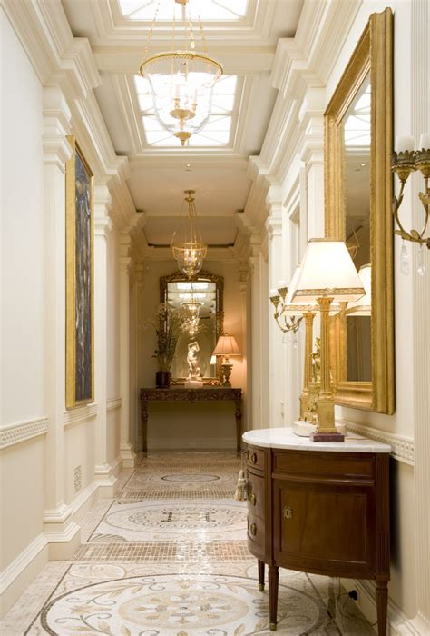 Half Table For Hallway Half Moon Hallway Table Traditional With Gold Accents Floor Tile Bell Pendants