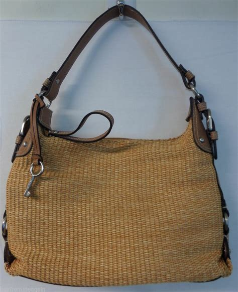 New Fossil Hobo Tote Shoulder Bag In Bag Seri 41218 2f fossil woven woven handbag purse zipper hobo purse shoulder bag straw buyfrommeagain