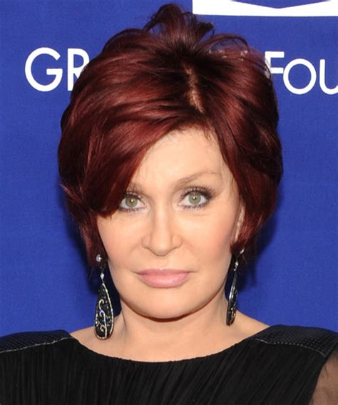 back view of sharon osbourne haircut sharon osbourne short straight formal hairstyle with side