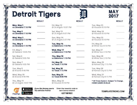 printable tigers schedule printable 2017 detroit tigers schedule