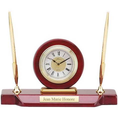 personalized desk clock with pen stand