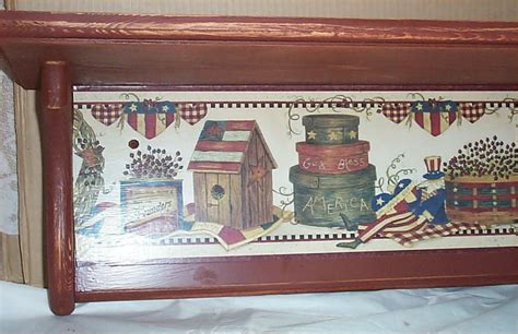 folk art home decor americana wood wall shelf folk art decor home kitchen