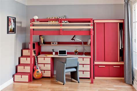 lit mezzanine avec bureau et armoire int馮r駸 lits mezzanines urbaine