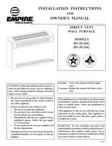 Comfort Furnace Manual Empire Comfort Systems Furnace Dv 25 2sg User S Guide