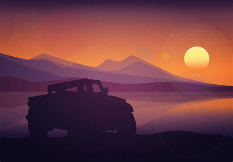 offroad silhouette sunset  vector