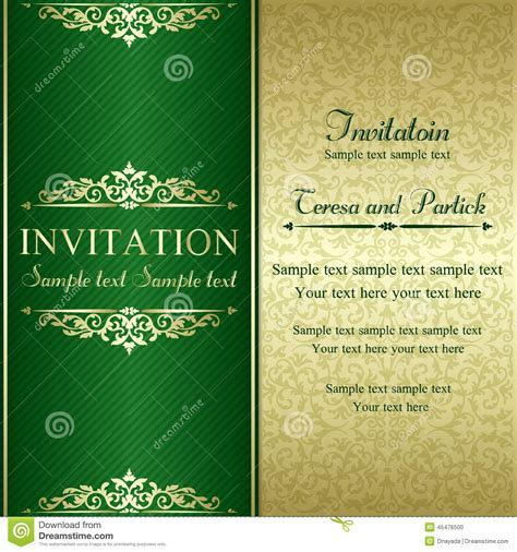Baroque Invitation, Gold And Green Stock Vector   Image