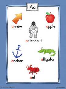 letter a word list with illustrations printable