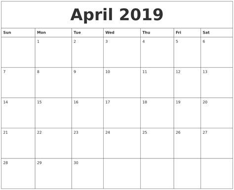 blank template calendar month april 2019 blank monthly calendar template