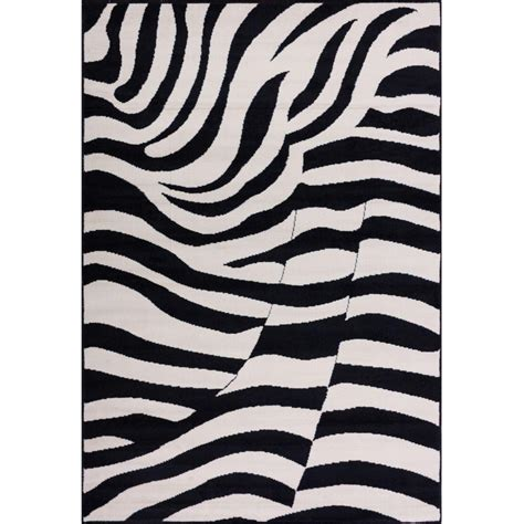 zebra print area rugs well woven miami zebra animal print stripe 5 ft x 7 ft black area rug 85635 the home depot